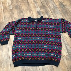 Vintage 80s Multicolored Abstract Button Pullover